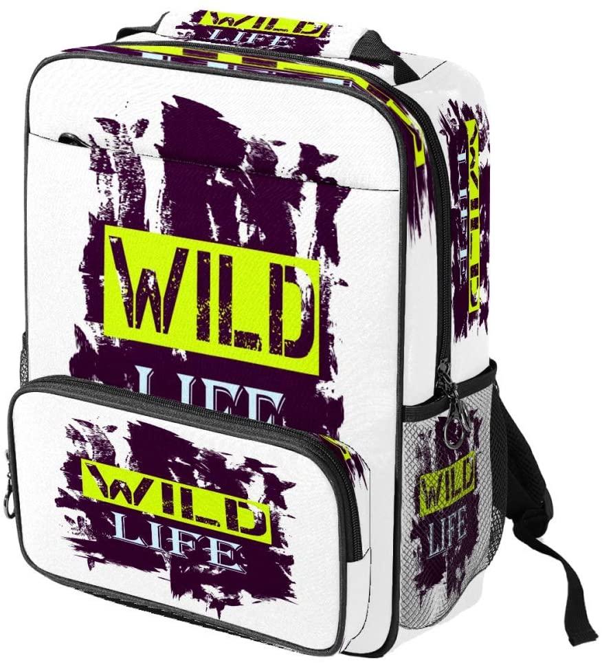 Casual School Backpack Tshirt Design Wild Life Quote Word Print Laptop Rucksack Multi-Functional Daypack Book Satchel