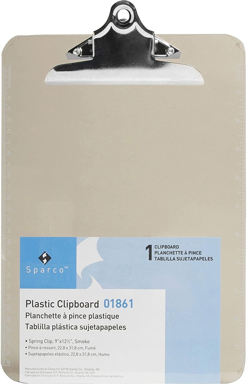 Sparco 01861 Transparent Plastic Clipboard, 9