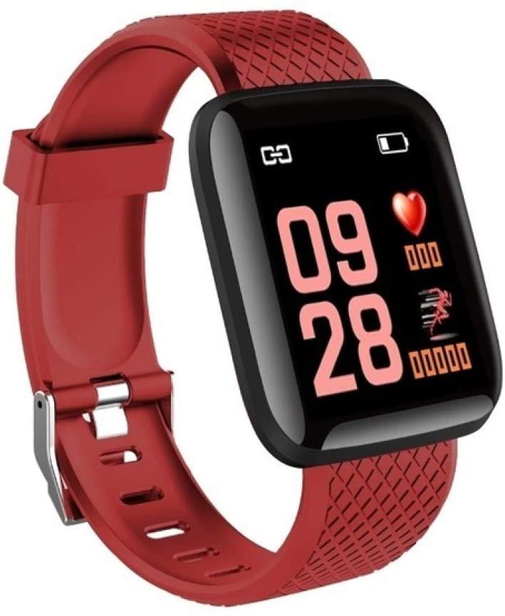 Redcolourful Smart Bracelet Color Screen Heart Rate Blood Pressure Monitoring Smart Band FitnessTracker IP67 Waterproof SmartWatch red