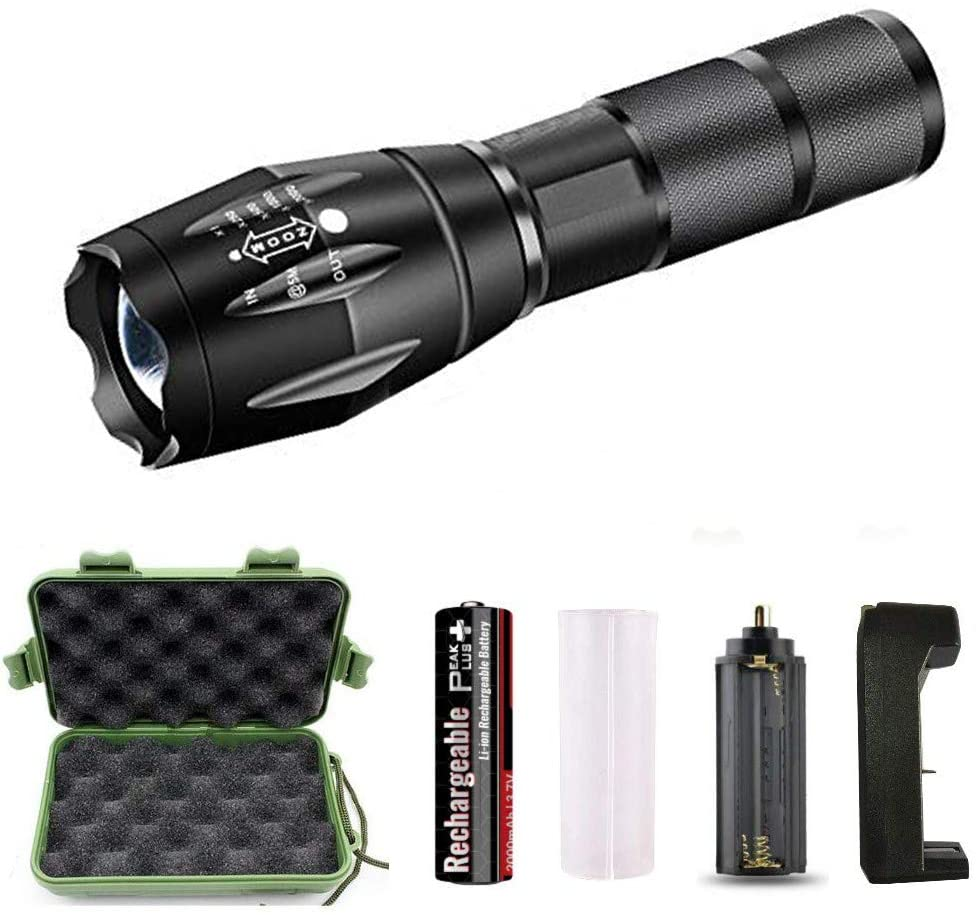RGTOPONE LED Tactical Flashlight High Lumens Rechargeable 5 Modes T6 Torch Ultra Bright Waterproof Handheld Flashlight with Battery, USB Charger and Storage Box