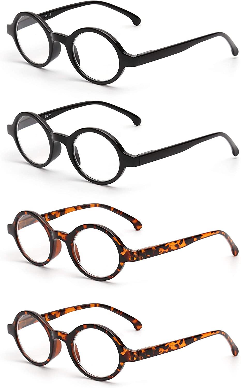 JM Set of 4 Round Reading Glasses Spring Hinge Readers Men Women Glasses for Reading
