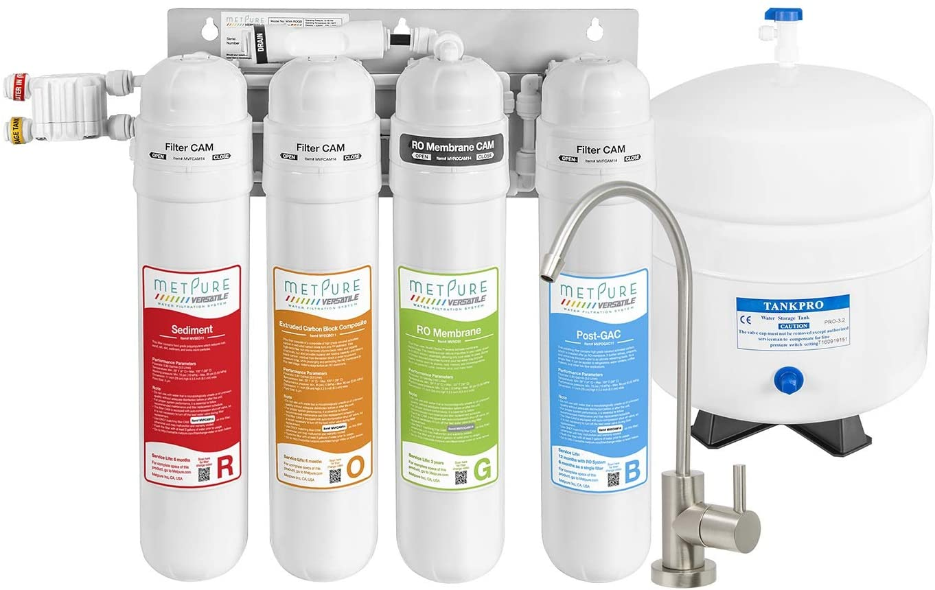 Metpure Versatile Reverse Osmosis Water Filtration System | 4 Stage Quick Twist Filters RO System With Faucet | Under Sink Water Filter For Clean Drinking Water & Simple Set Up - 50 GPD