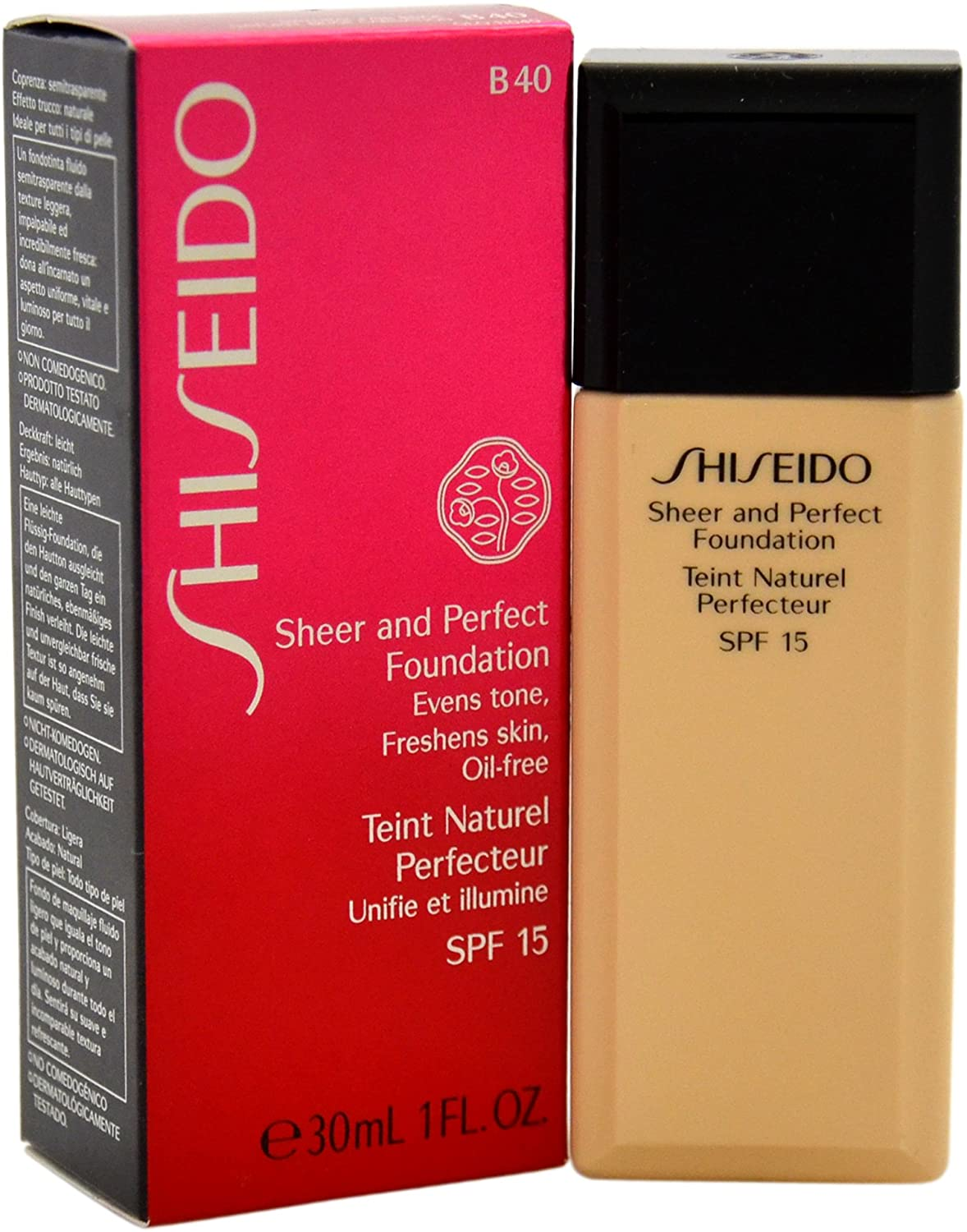 Shiseido Sheer and Perfect SPF 15# B40 Natural Fair Beige Foundation for Women, 1 Ounce