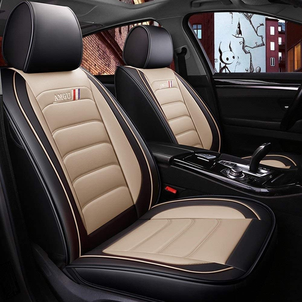 YJQ Car Seat Cover, Front and Rear Breathable and Comfortable Leather Protection Pads, 5 Seats, Universal Airbag (Color : Beige)