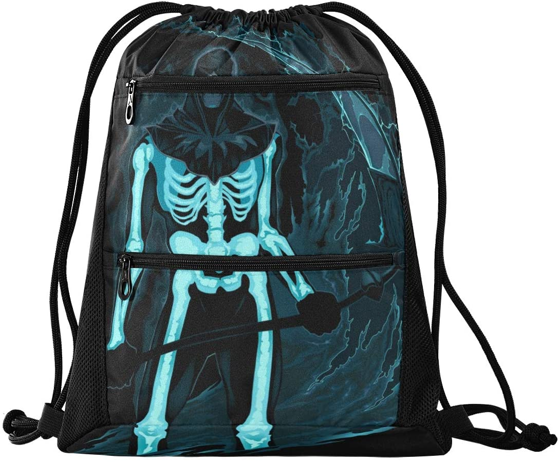 Halloween Drawstring Backpack Sport Gym Sackpack - Happy Halloween Demon Scythe Drawstring Bag Sport Backpack for Hiking Yoga