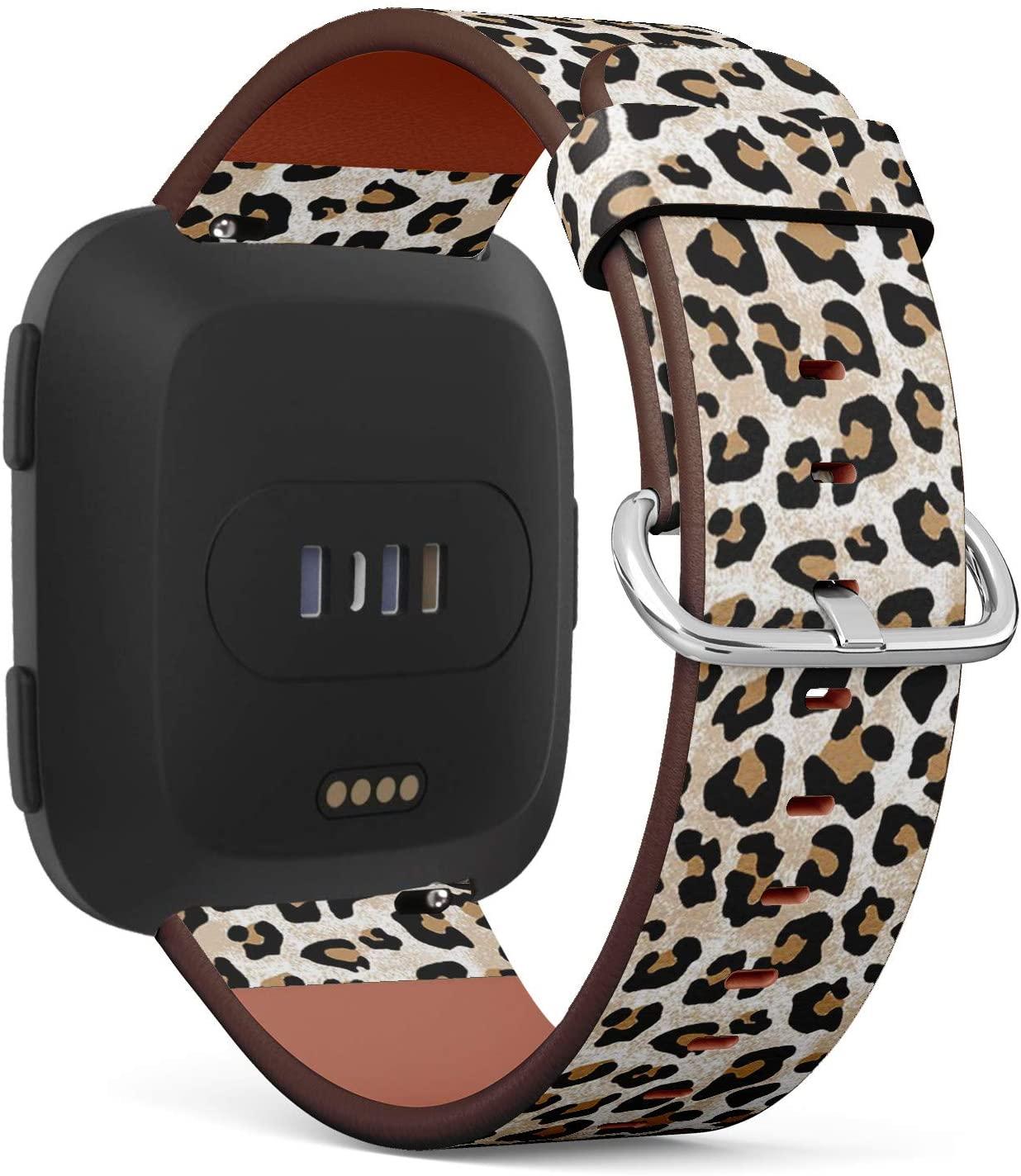 Compatible with Fitbit Versa/Versa 2 / Versa LITE - Leather Watch Wrist Band Strap Bracelet with Quick-Release Pins (Modern Leopard)