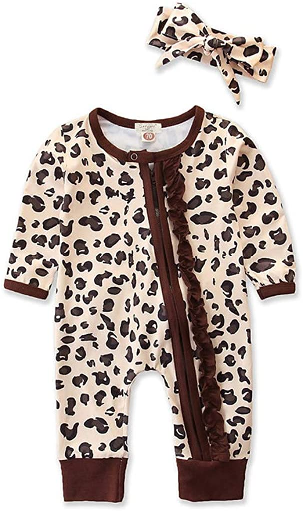 Goldweather Baby Boys Girls Long Sleeve Jumpsuit Infant Leopard Print Ruffles Romper +Hairband Outfits Set