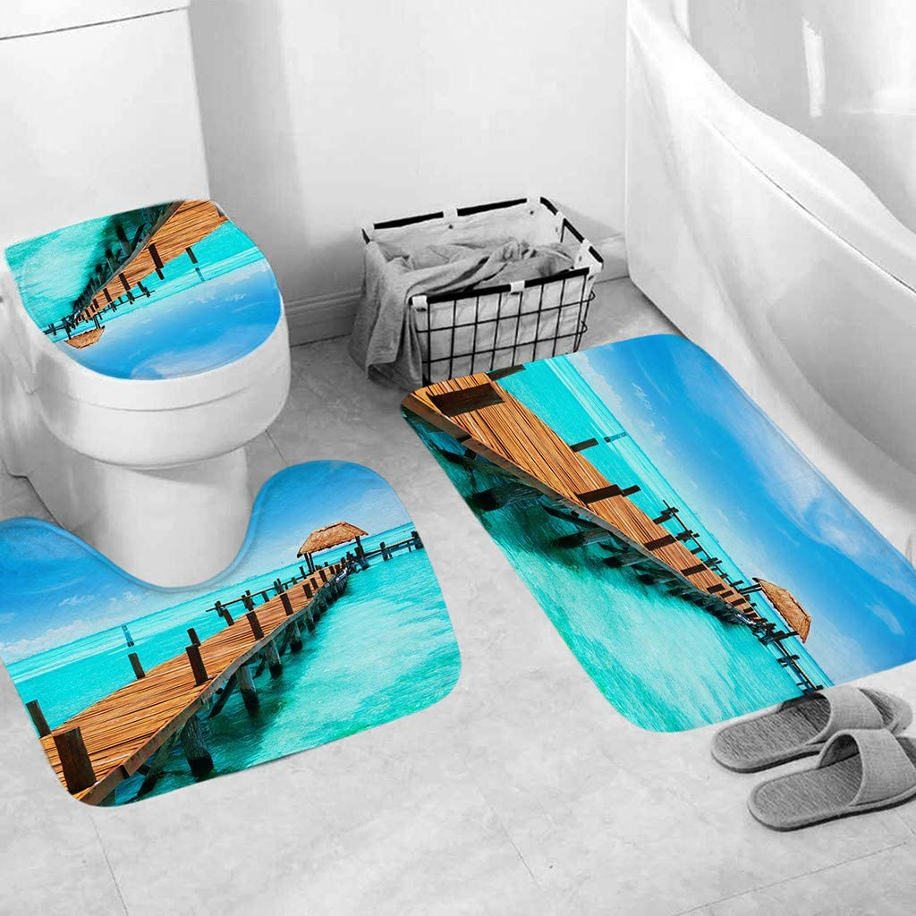 Jeeke 3pcs Non-Slip Fish Scale Bath Mat - Absorbent & Slip Resistant Bath Rug, Contour Mat & Lid Cover with Rubber Backing for Tub, Shower, Bathroom