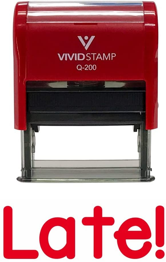 Late! Teacher Self Inking Rubber Stamp (Red Ink) - Medium