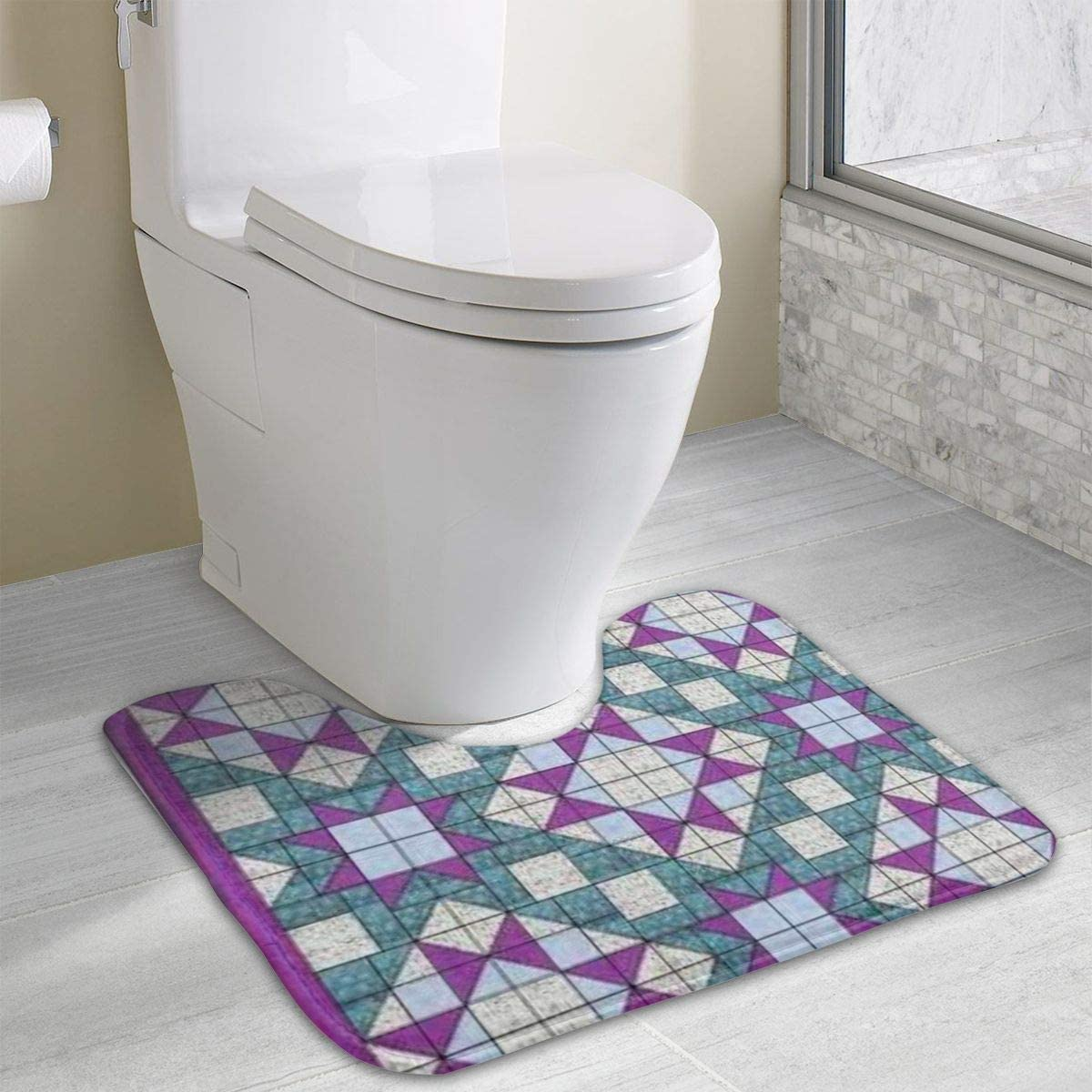 Purple Square Non-Slip Bath Mats for Floors U-Shaped Toilet Mat Incredibly Soft and Absorbent Rug