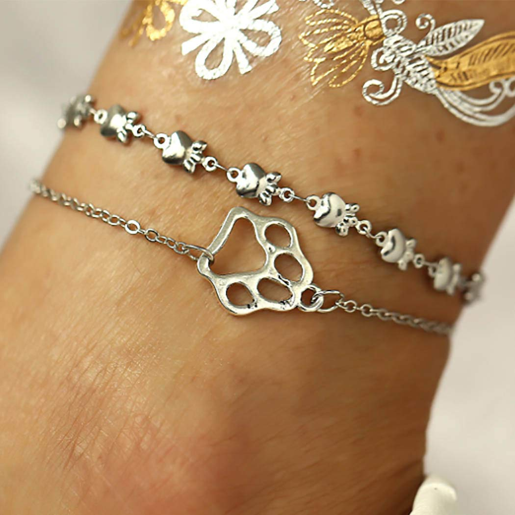 Awanka Boho layered Ankle Bracelets Dog Cat Pet Paw Print Ankle Chain Silver Beach Anklet Animal Footprint Ankle Jewelry for Women and Girls 2pcs