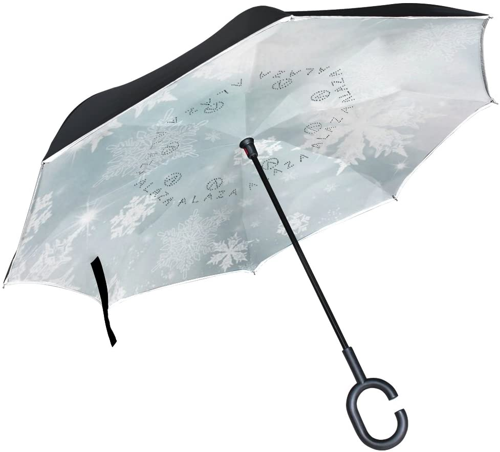 Vipsk Reverse/Inverted White Transparent Snowflake Double-Layer Waterproof Straight Umbrella Self-Standing & C-Shape Handle & Carrying Bag for Free Hands, Inside-Out Folding for Car Use