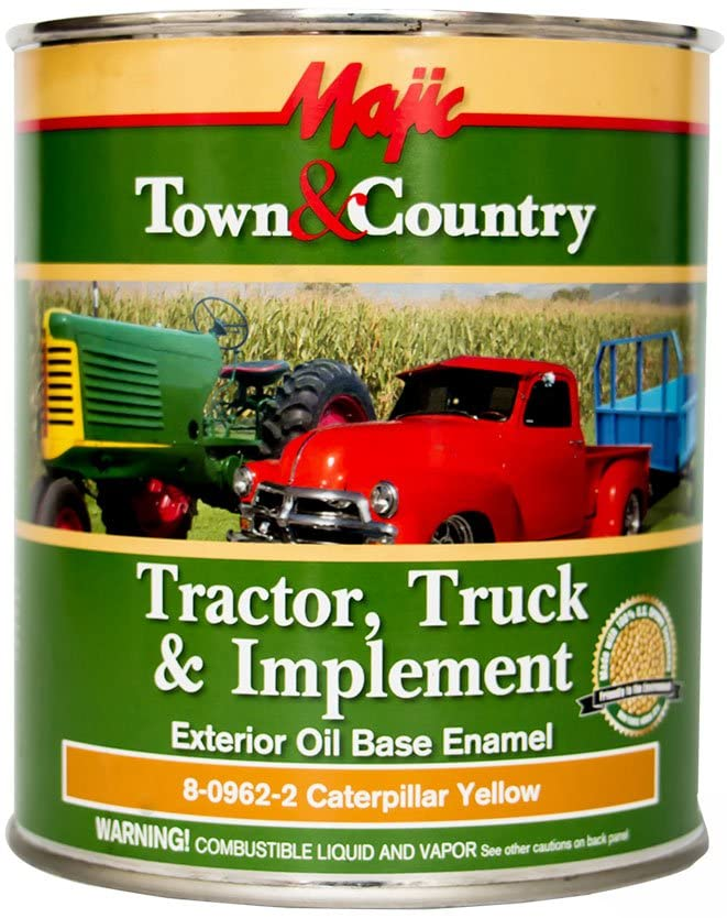 Majic Paints 8-0962-2 Town & Country Tractor, Truck & Implement Oil Base Enamel Paint, 1-Quart, Caterpillar Yellow