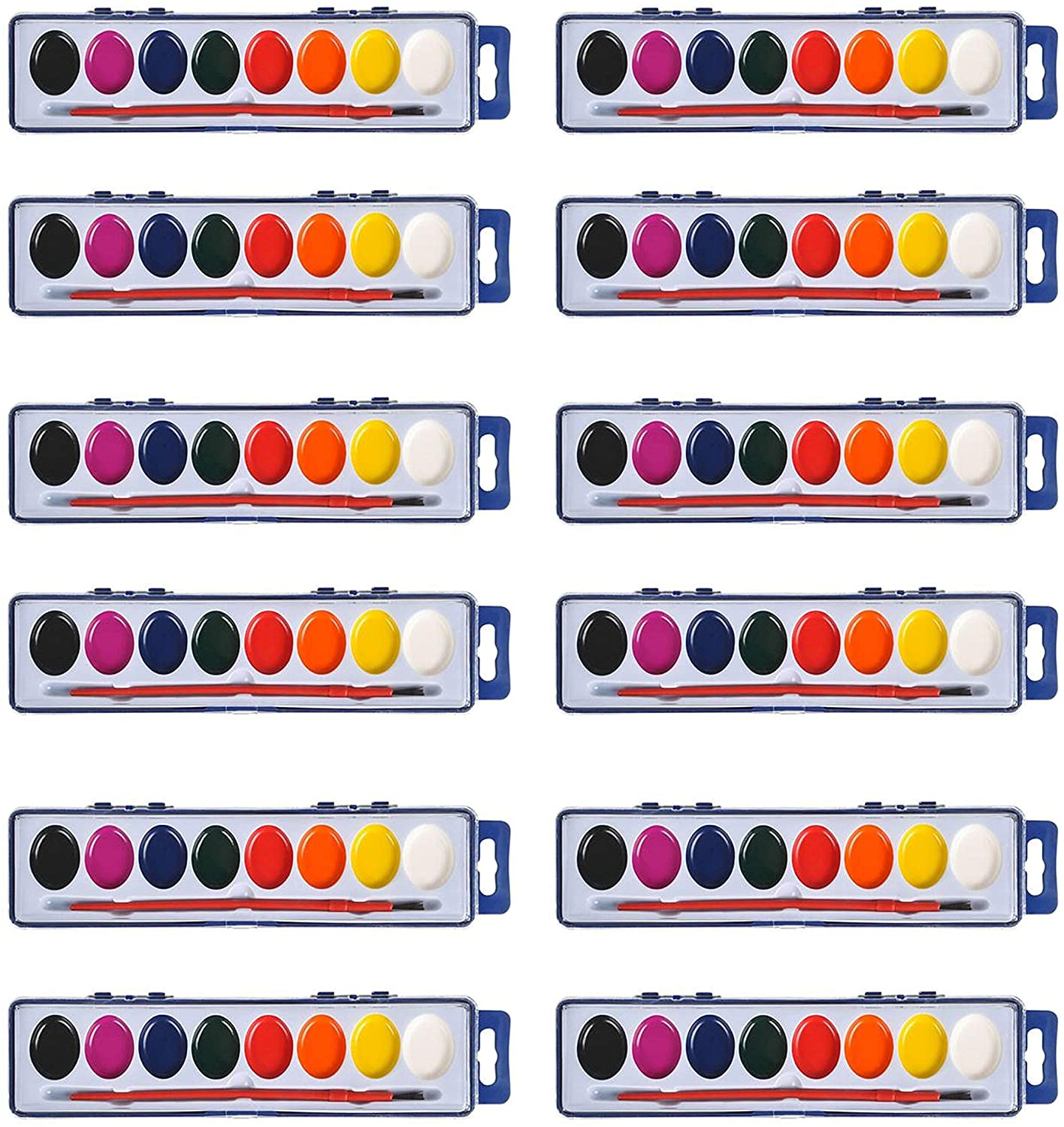 Neliblu Watercolor Paint Sets Bulk Set of 12 with 8 Washable Colors, and Paintbrushes for Kids and Adults - Perfect for Birthday Party Favors, Classroom Activities, Art Classes