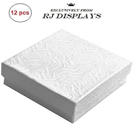 12 Pack Cotton Filled Swirl White Paper Cardboard Jewelry Gift and Retail Boxes 3 X 3 X 1 Inch Size by R J Displays
