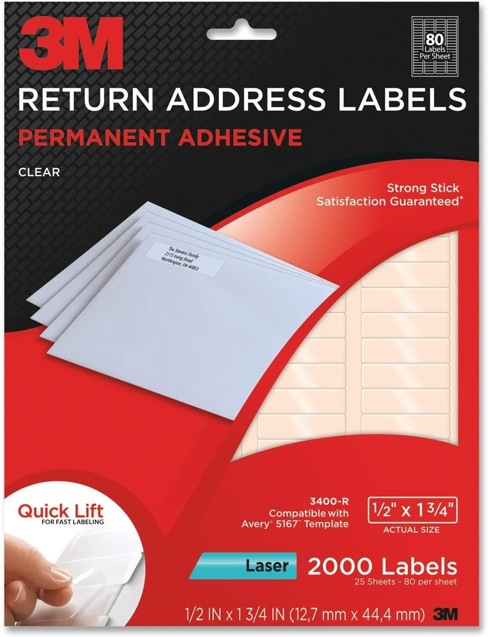 3M Permanent Adhesive Return Address Labels, 0.5 x 1.75 Inches, Clear, 2000 per Pack (3400-R)