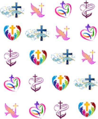 Pastel Religious Cross Dove Nail Art Decals