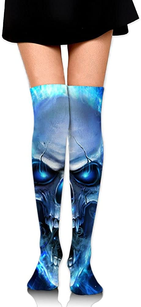 MASDUIH Blue Flame Skull Dresses Knee Thighs Stockings Outdoor Sports Thighs Socks.