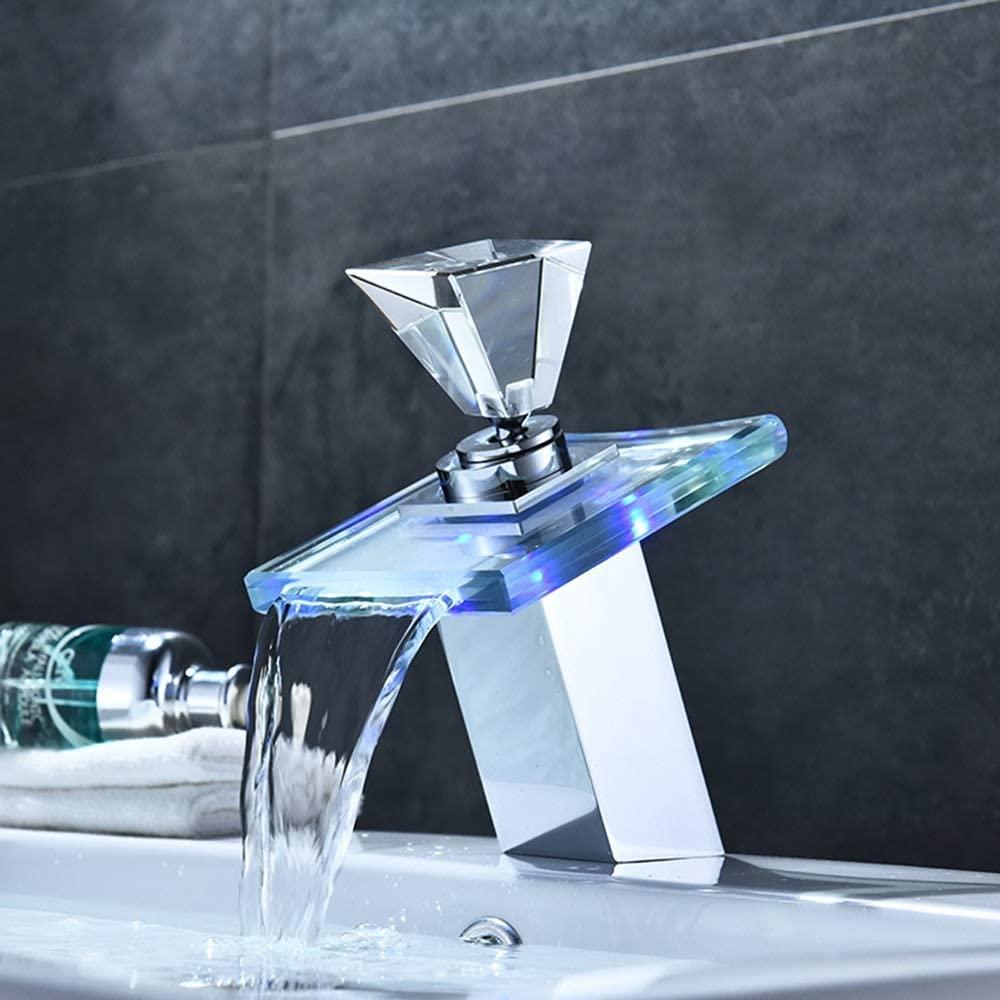 zZZ Modern Led Crystal Ball Copper Bathroom Basin Faucet Creative Color Luminous Square Waterfall Lift Faucet Set Ceramic Valve Core Practical