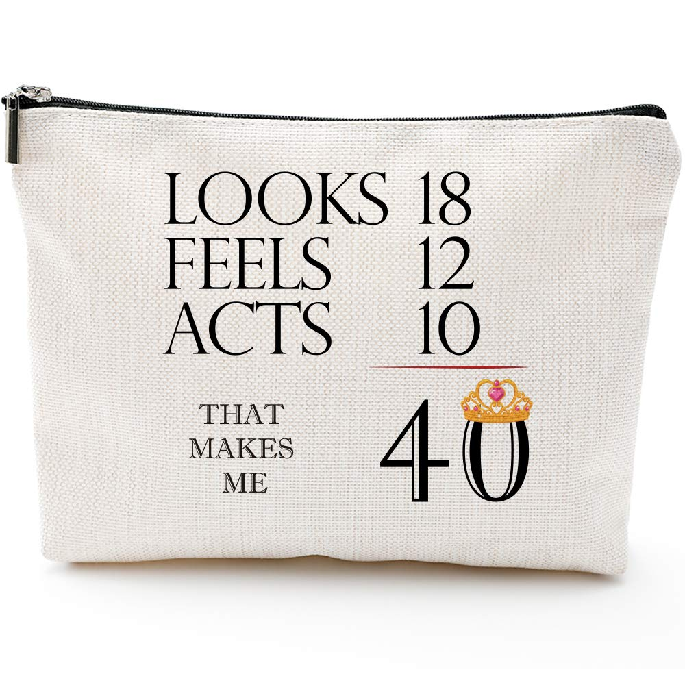 40th Birthday Gifts for Women-That Makes Me 40-1979 Birthday Gifts for Women, 40 Years Old Birthday Gifts Makeup Bag for Mom, Wife, Friend, Sister, Her, Colleague, Coworker