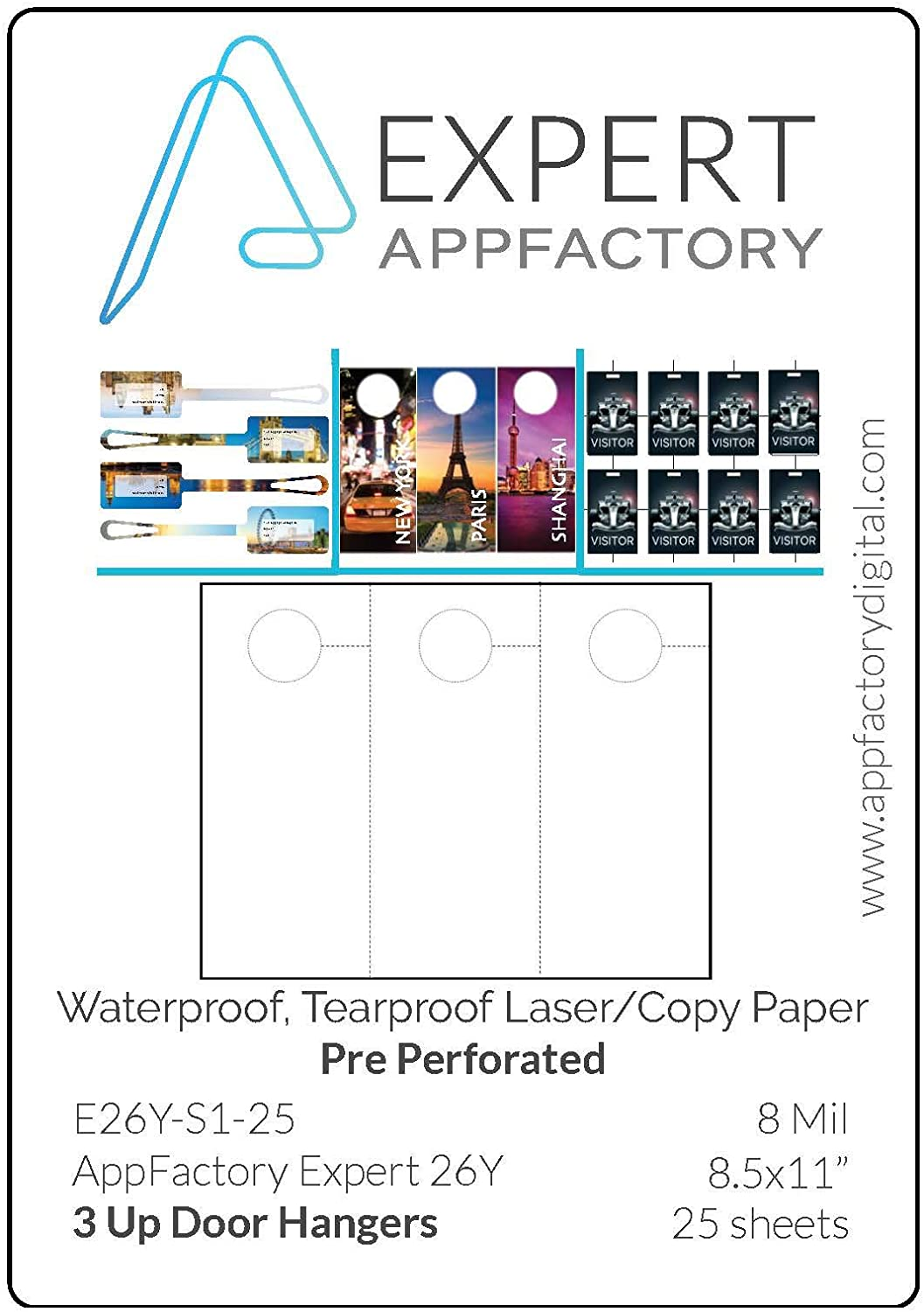 AppFactory EXPERT 8 Mil Pre-Perforated 3 Up Door Hangers Waterproof Tearproof Laser/Copy Paper - 25 sheet pack (8.5x11)