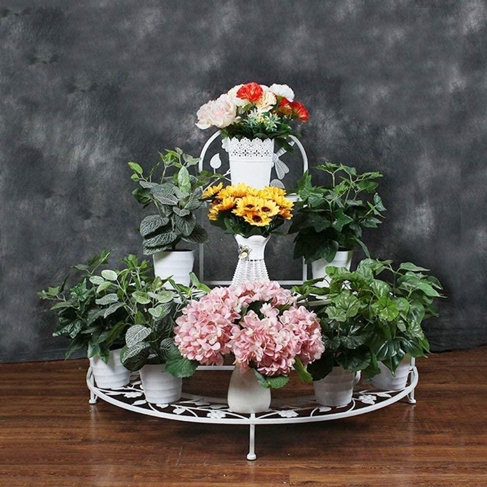 PLLP Corner Shelves,Flower Racks Multi-Purpose 94Cm81Cm Semi-Circular Foldable Flower Shelf European-Style Multi-Storey Flower Frame Corner Ladder Flower Stand(White, Black, Brown) for Indoor and Ou