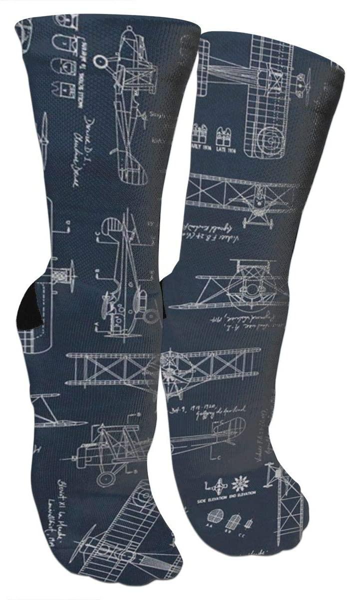 ~ Aviation Aviators Transportation Blue Knee High Graduated Compression Socks for Men Women - Best Medical, Nursing,Running & Fitness Socks with Moisture Wicking