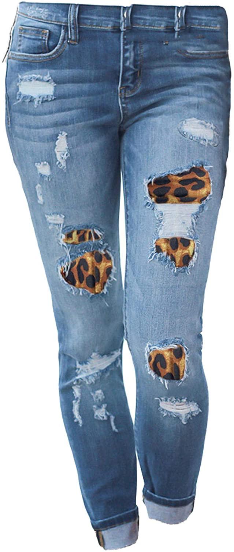 Andongnywell Mid Waist Women Knee Skinny Denim Distressed Ripped Boyfriend Jeans