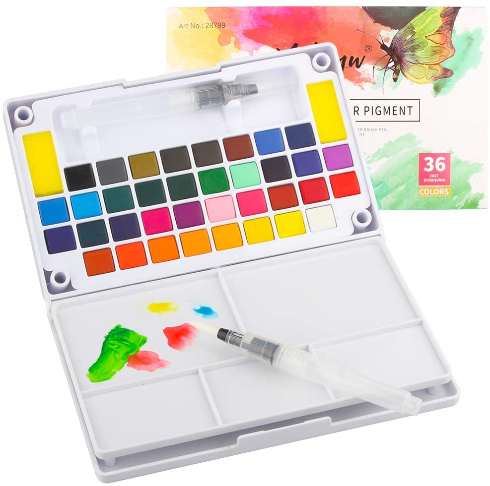 Tomorotec 36 Colors Watercolor Paint Set with Portable Watercolor Palette for Kids Children with Bonus Brushes, Refillable Water Blending Brush Pen,Sponges, Eraser, Pencils