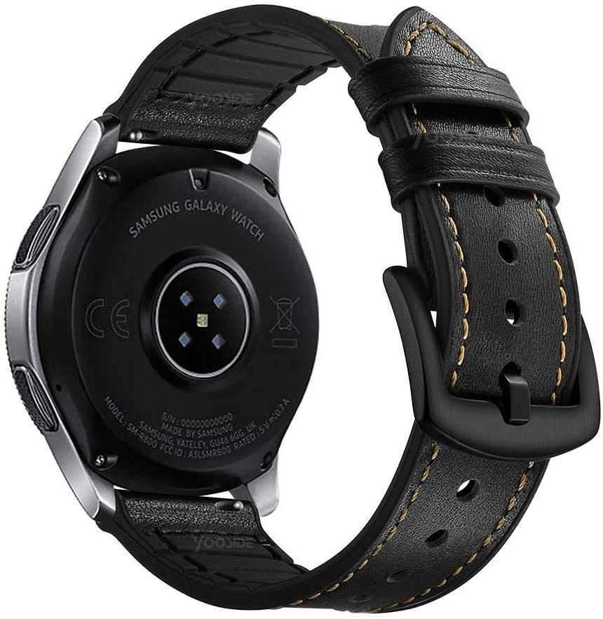 YOOSIDE for Samsung Galaxy Watch(46mm) Bands,TicWatch Pro Band,22mm Quick Release Genuine Leather Silicone Hybrid Watch Band Strap for Samsung Galaxy Watch 46mm,Gear S3 Classci/Frontier (Black)