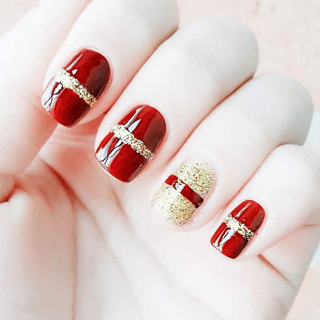Yizaca Glossy Press on Nails Red Short Glitter Fake Nails Tips Square Acrylic Full Cover False Nail for Women and Girls (24Pcs)