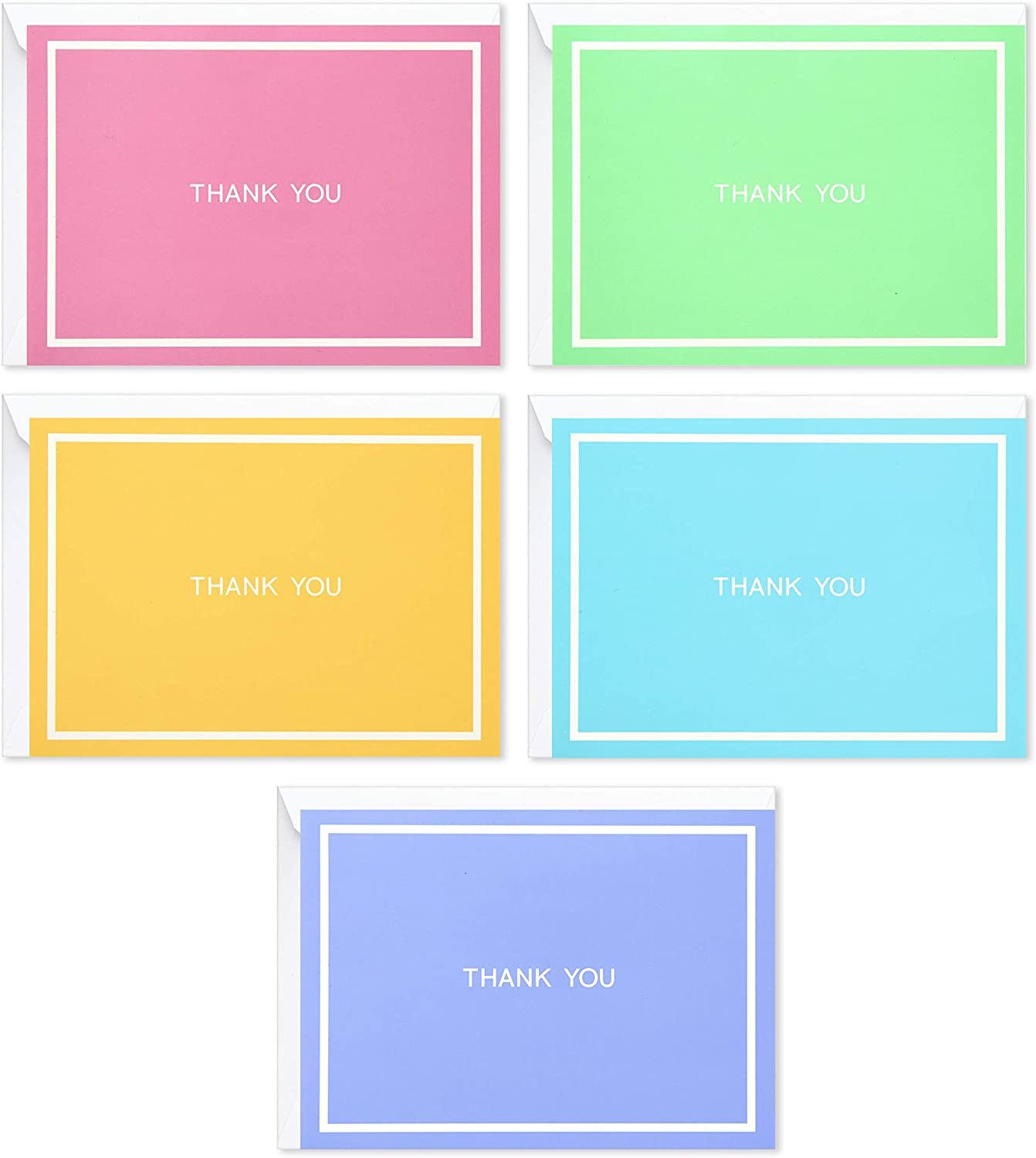 Hallmark Baby Shower Thank You Cards Assortment, Pastel Solids (50 Cards for Weddings, Bridal Showers, All Occasion)