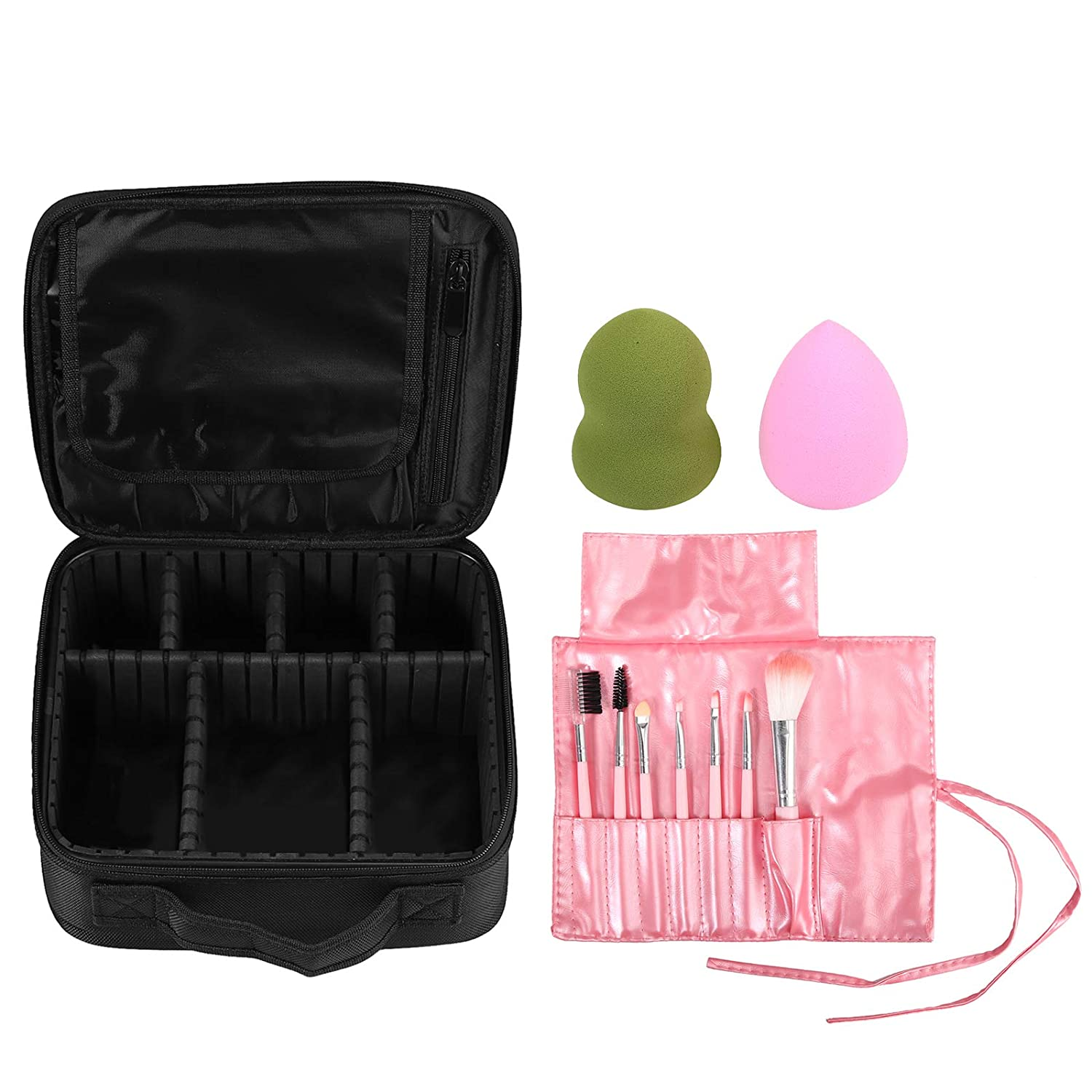 Tanice Cosmetic Bag Travel Makeup Bag Adjustable Dividers with 7PCS Makeup Brushes and 2PCS Makeup Sponges for Cosmetics Make Up Tools Jewelry