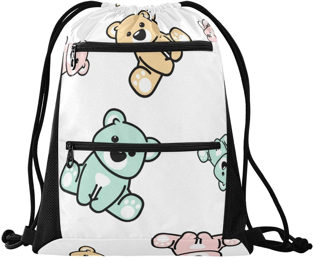 Drawstring Bag Lightweight Drawstring Backpack Bag for Teens Boys Girls with Zipper Mesh Pockets