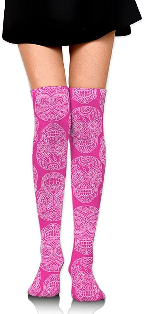 Womens Knee High Socks Pink Sugar Skull Winter Warm Thigh High Long Stockings