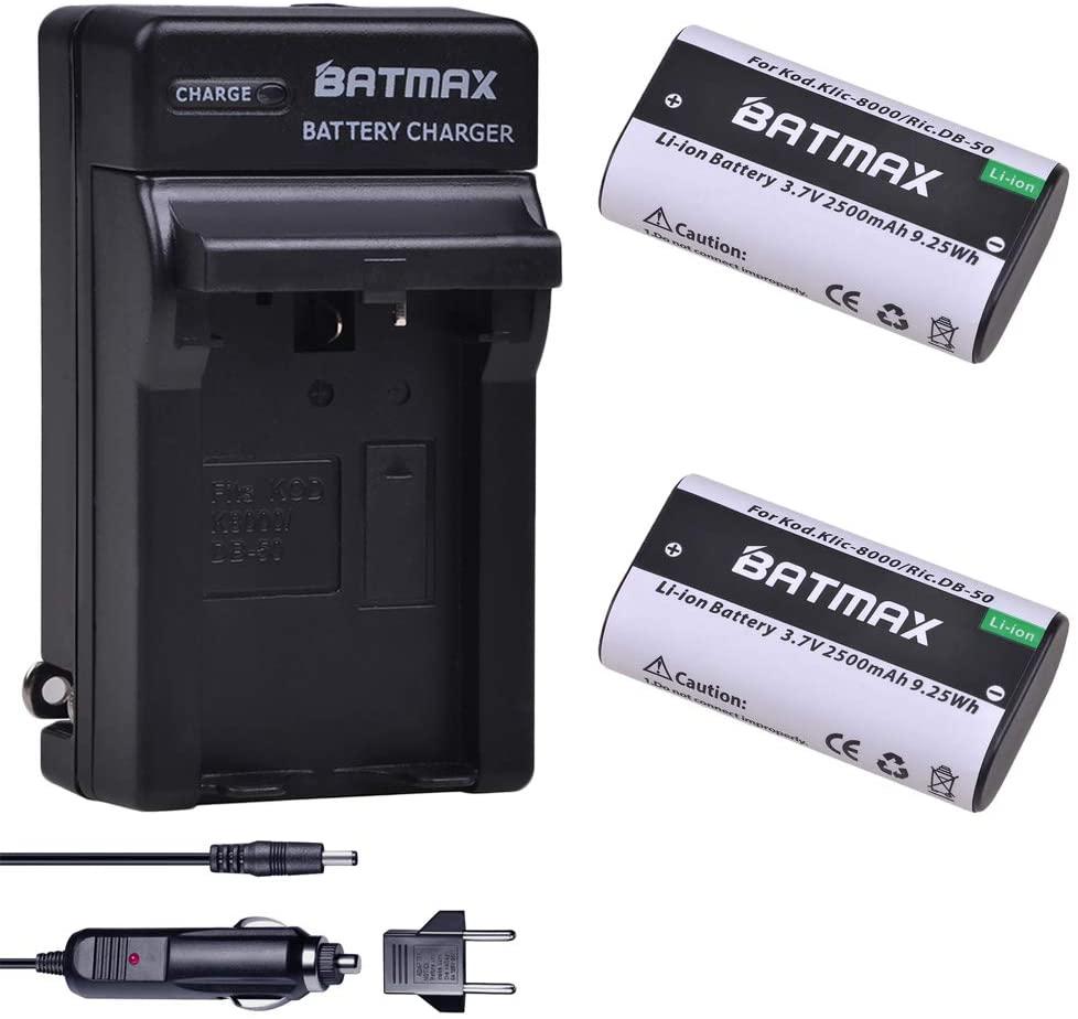 Batmax 2Pcs 2500mAh KLIC-8000 KLIC8000 DB50 Battery + Charger Kits for Kodak Easyshare Zx1 ZxD Z612 Z712 Z812 Z1085 Z1015 Z1012 Z1485 Z8612 is