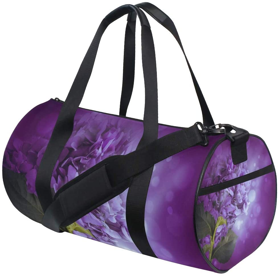 Brighter Purple Hydrangea Flowers Fitness Sports Bags Gym Bag Travel Duffel Bag for Mens and Womens