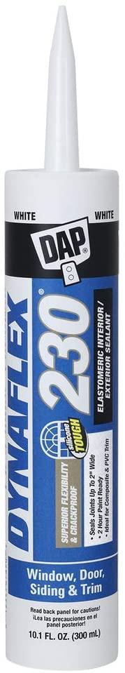 DAP 18275 DYNAFLEX 230 Premium Elastomeric Interior and Exterior Sealant, 10.1 oz, White, 10