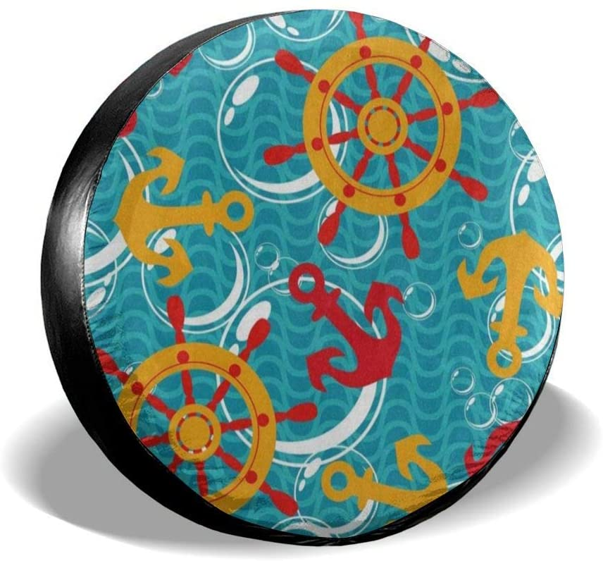 All agree Spare Wheel Tire Cover Nautical Sea Anchor Wheel Universal Waterproof Camper Tire Covers Protectors for RV, Trailer, SUV, Truck, Boat, Motorhome, Vehicle, Auto Accessories