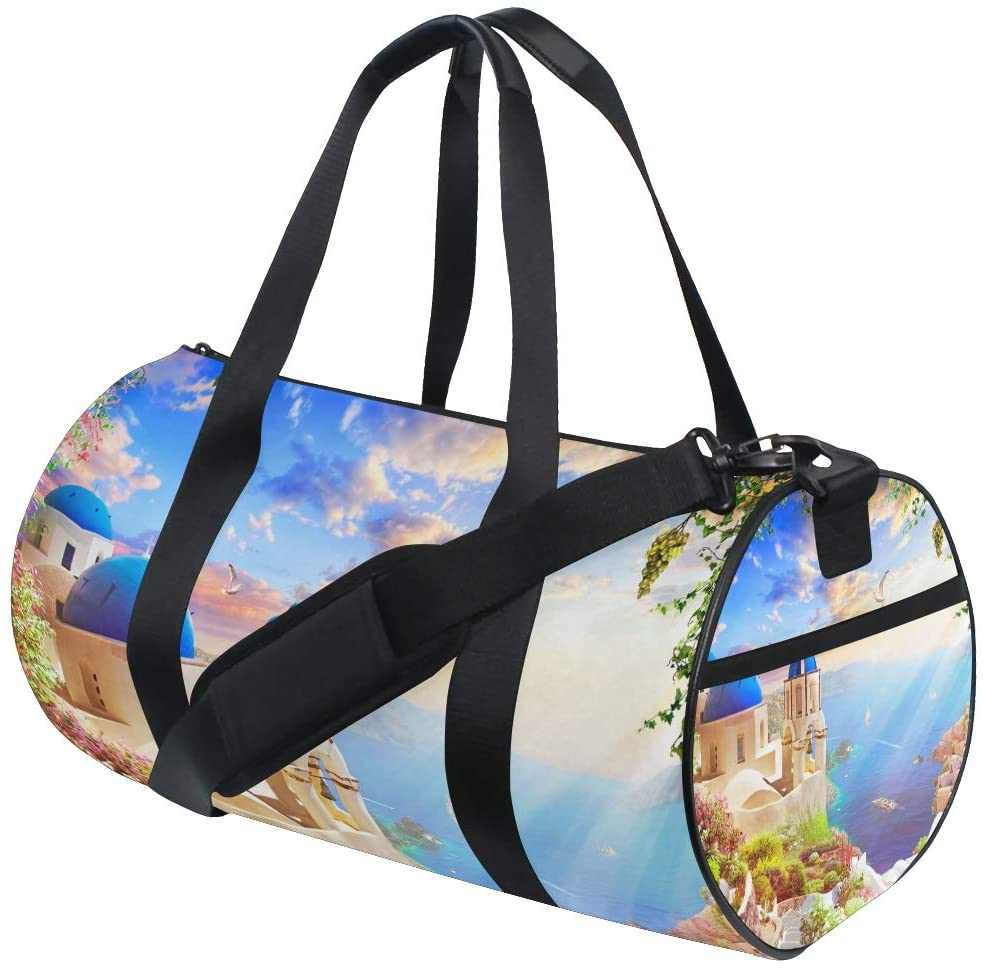 Brighter Santorini Fitness Sports Bags Gym Bag Travel Duffel Bag for Mens and Womens