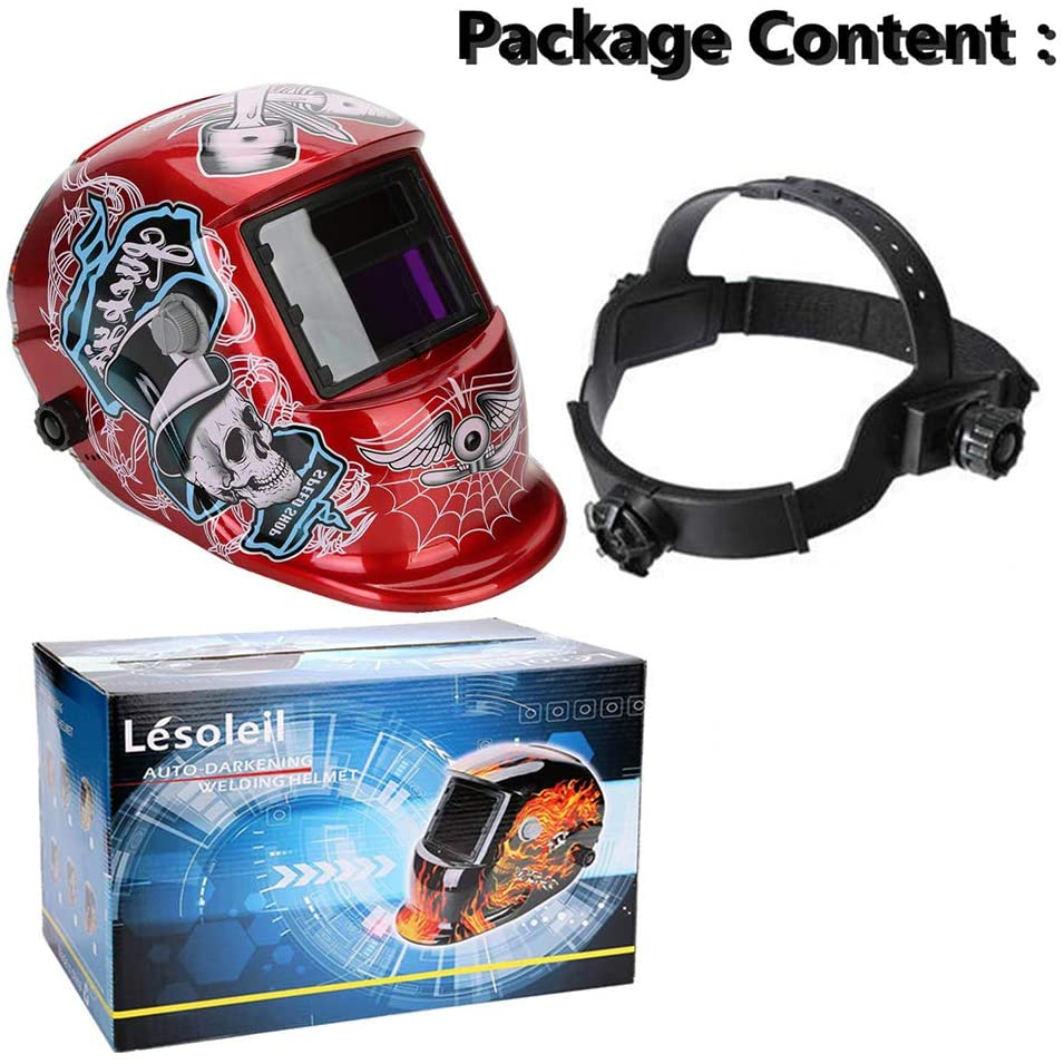 FFXENG Welding Mask Solar Powered Auto Darkening Hood with Adjustable Shade Range 4/9-13 for Mig Tig Arc Welder Mask Shield Flaming Skull Design