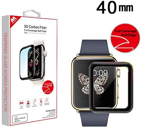3D Carbon Fiber Full Coverage Soft Edge Tempered Glass Screen Protector Black for Apple Watch Series 4 40mm Apple Watch Series 5 40mm