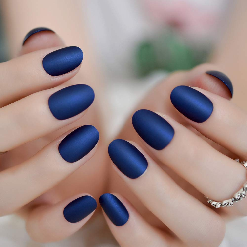 Gorgeous Matte Fake Fingernails Short Oval Diamond Blue Frosted False Nails with Adhesive Tabs 24