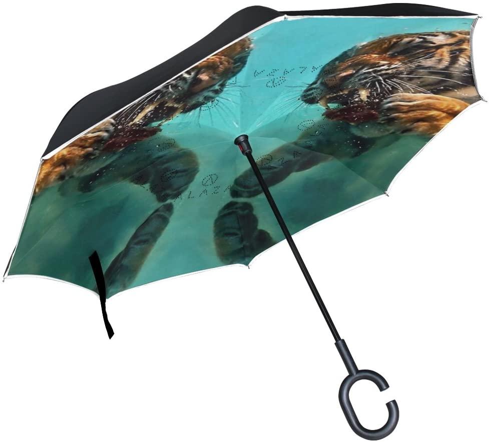 Vipsk Umbrella Reverse Umbrella Symmetrical Tiger Cyan Creative Cars Umbrella Double Layer Inverted Umbrella Windproof Straight Waterproof Inside Out Travel Umbrellas
