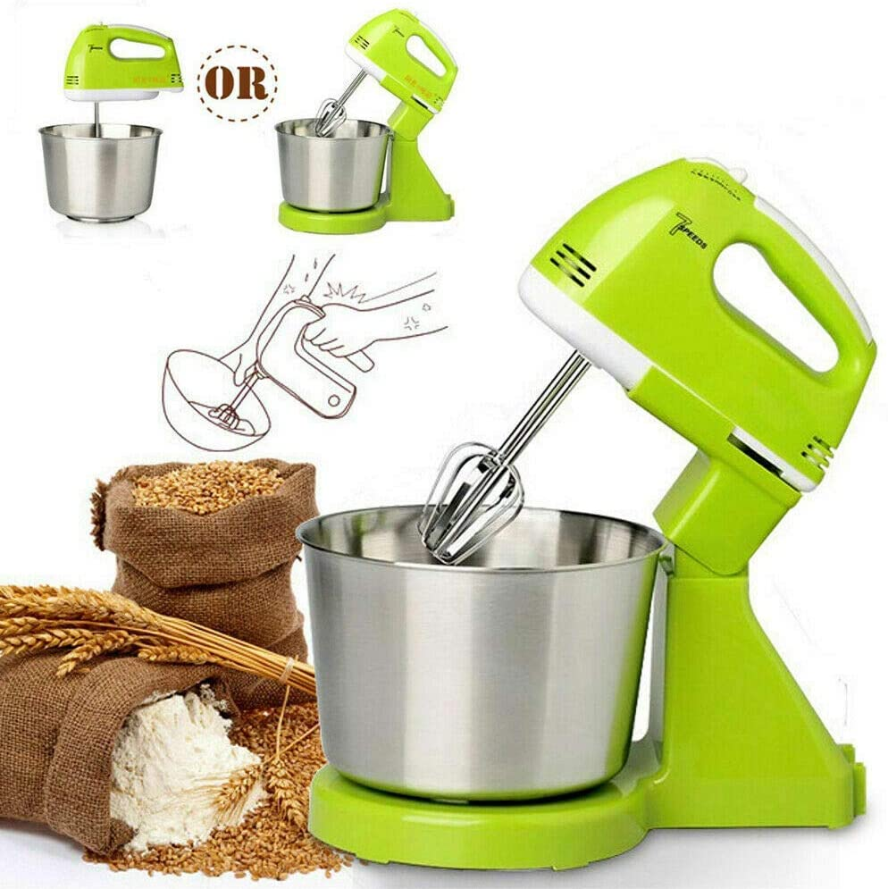 LEILEI Food Stand Mixers,7 Speed Automatic Whisk Hand Food Mixer Electric Stand Mixers Handheld Flour Bread Egg Beater Blenders with Bowl UK Plug(Green)