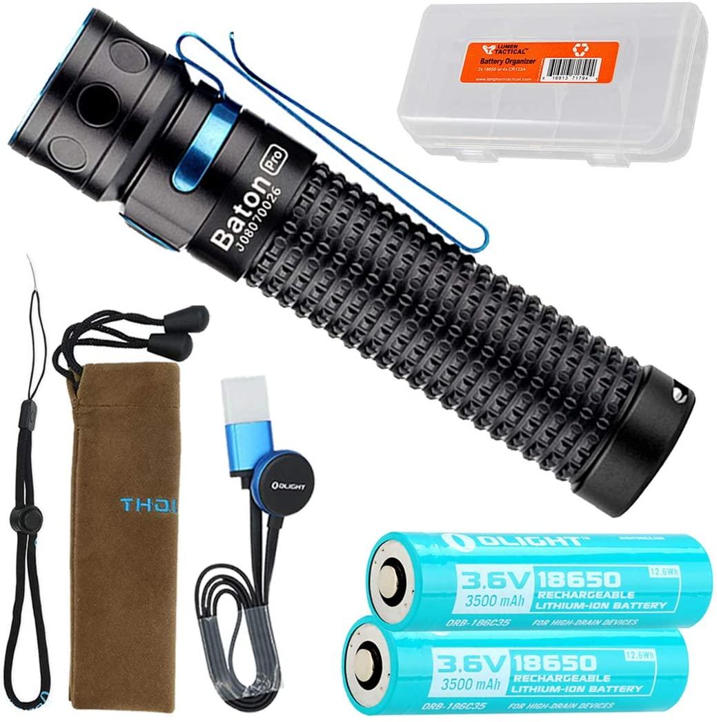 Olight BatonPro 2000 Lumen Rechargeable EDC LED Flashlight with Extra Custom 3500mAh Olight Battery and LumenTac Battery Organizer