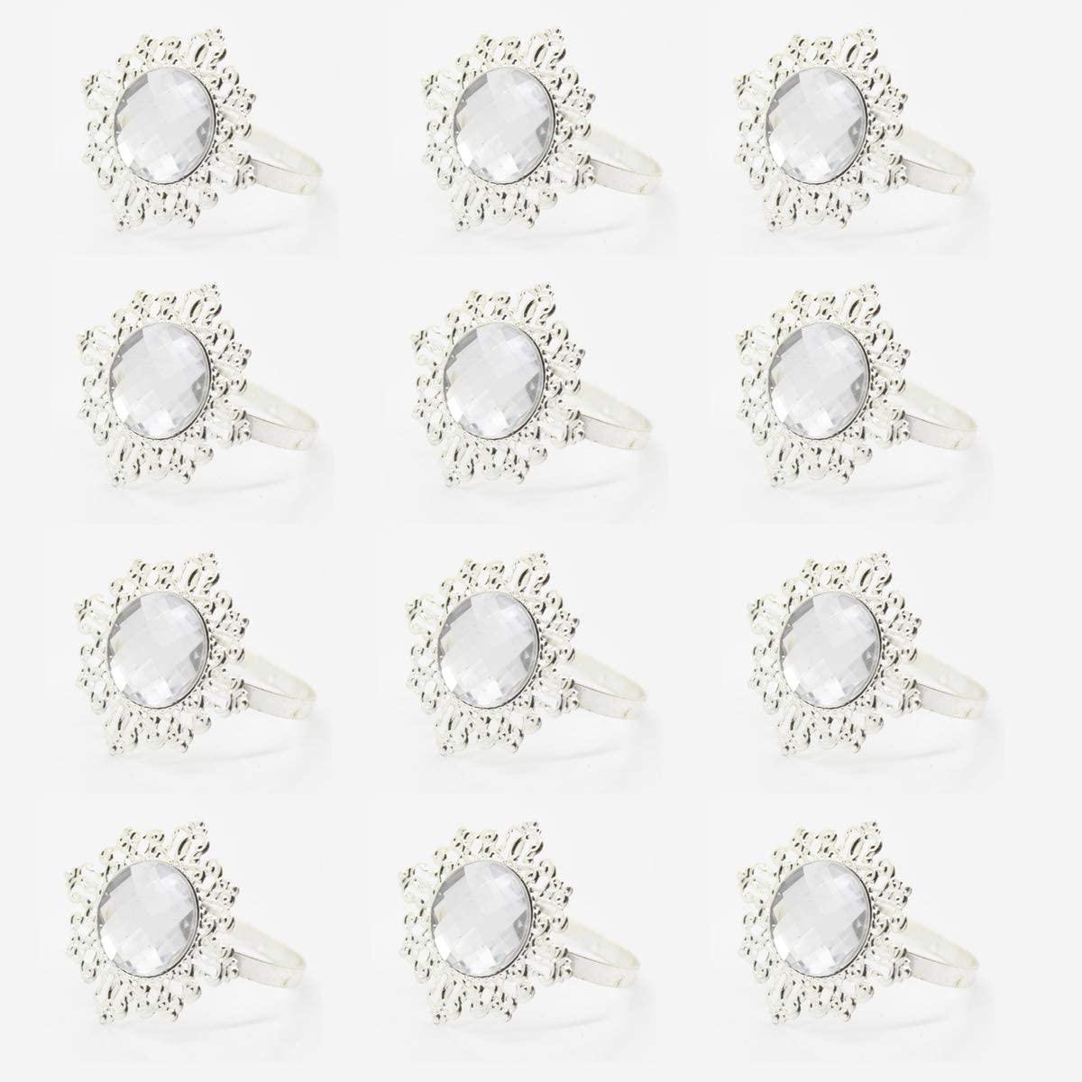 Beauy Girl 12 Pack Silver Bling Napkin Rings Napkin Holder for Wedding Banquet Parties Dinner