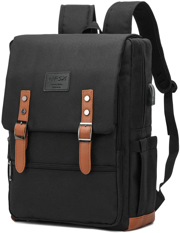 Vintage Backpack Anti Theft Laptop Backpack Men Women Business Travel Computer Backpack School College Bookbag Stylish Water Resistant Vintage Backpack with USB Port Fits 15.6 Inch Laptop Black