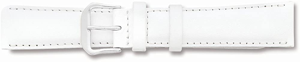 Sonia Jewels 17mm White Smooth Leather Silver-Tone Buckle Watch Band 7.5