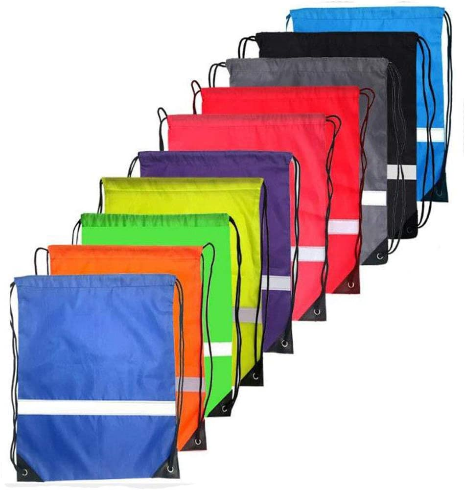 10 Colors Reflective Strip Drawstring Backpack Bags Sack Pack Cinch Tote Kids Adults Storage Bag for Gym Traveling